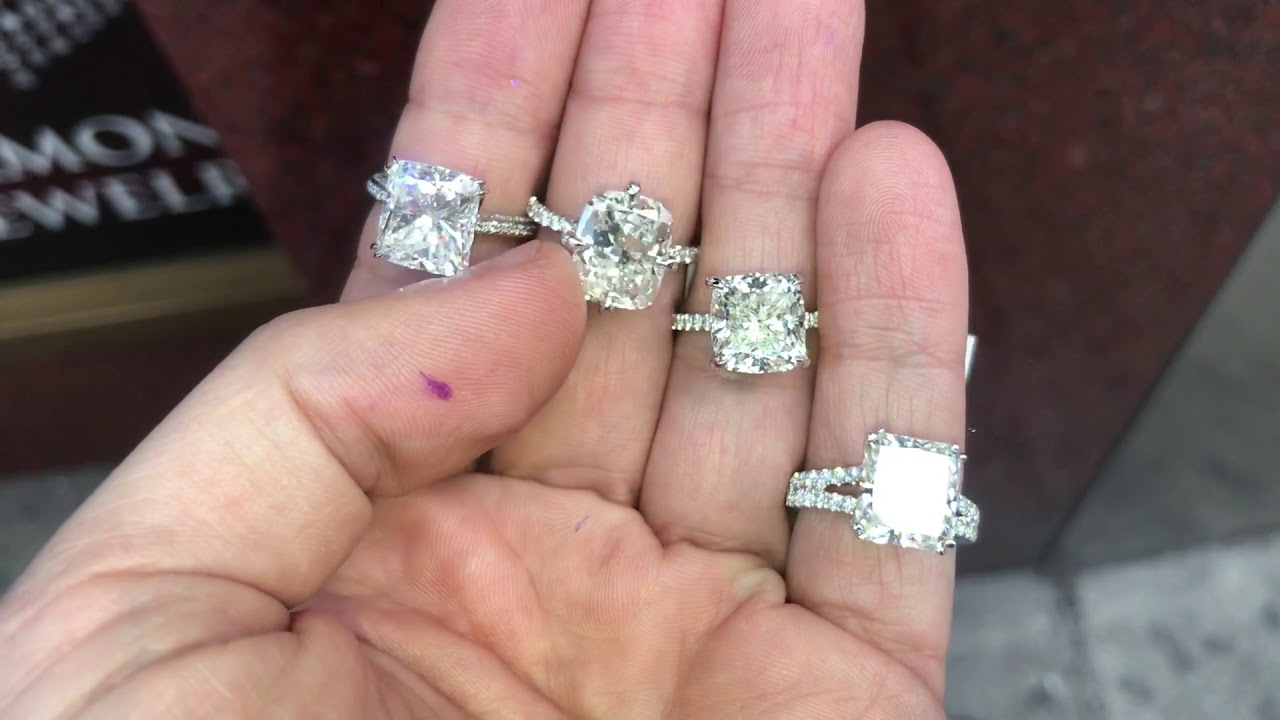 4 to 5 carat cushion and radiant diamond engagement rings - YouTube