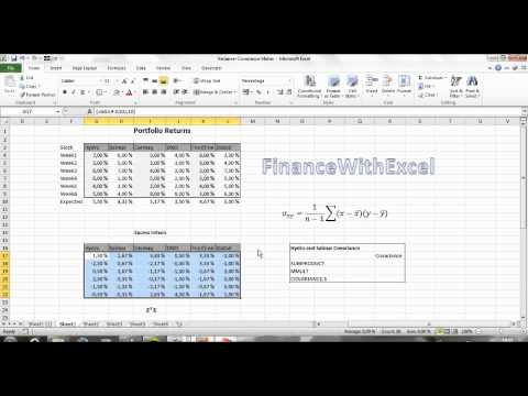 How to make the variance-covariance matrix in Excel: Portfolio Models #1