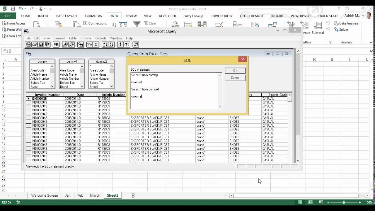 Create A Pivot Table From Multiple Worksheets Of A Workbook Youtube