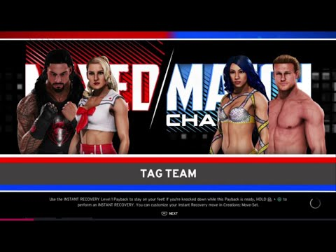 WWE 2K20 Lacey Evans,Roman Reigns Alt. VS Sasha Banks,Dolph Ziggler Mixed Tag Match