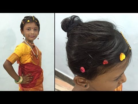 How to wear Ready-Made Navari Saree & Hair Style for Childrens