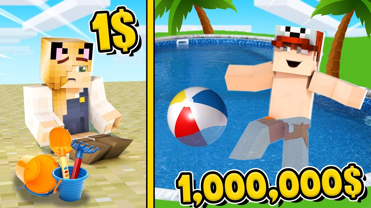 MINECRAFT - WAKACJE ZA 1$ VS WAKACJE ZA 1,000,000$ | Vito i Bella
