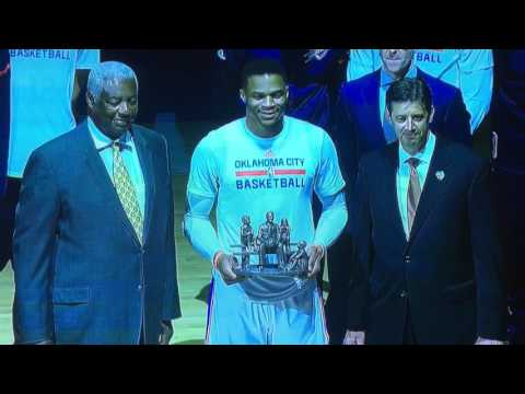"""FULL CEREMONY FOR RUSSELL WESTBROOK WITH OSCAR ROBERTSON PASSING RECORD ON TO RUSSELL 