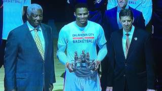 "FULL CEREMONY FOR RUSSELL WESTBROOK WITH OSCAR ROBERTSON PASSING RECORD ON TO RUSSELL | OSCAR: ""MVP"""