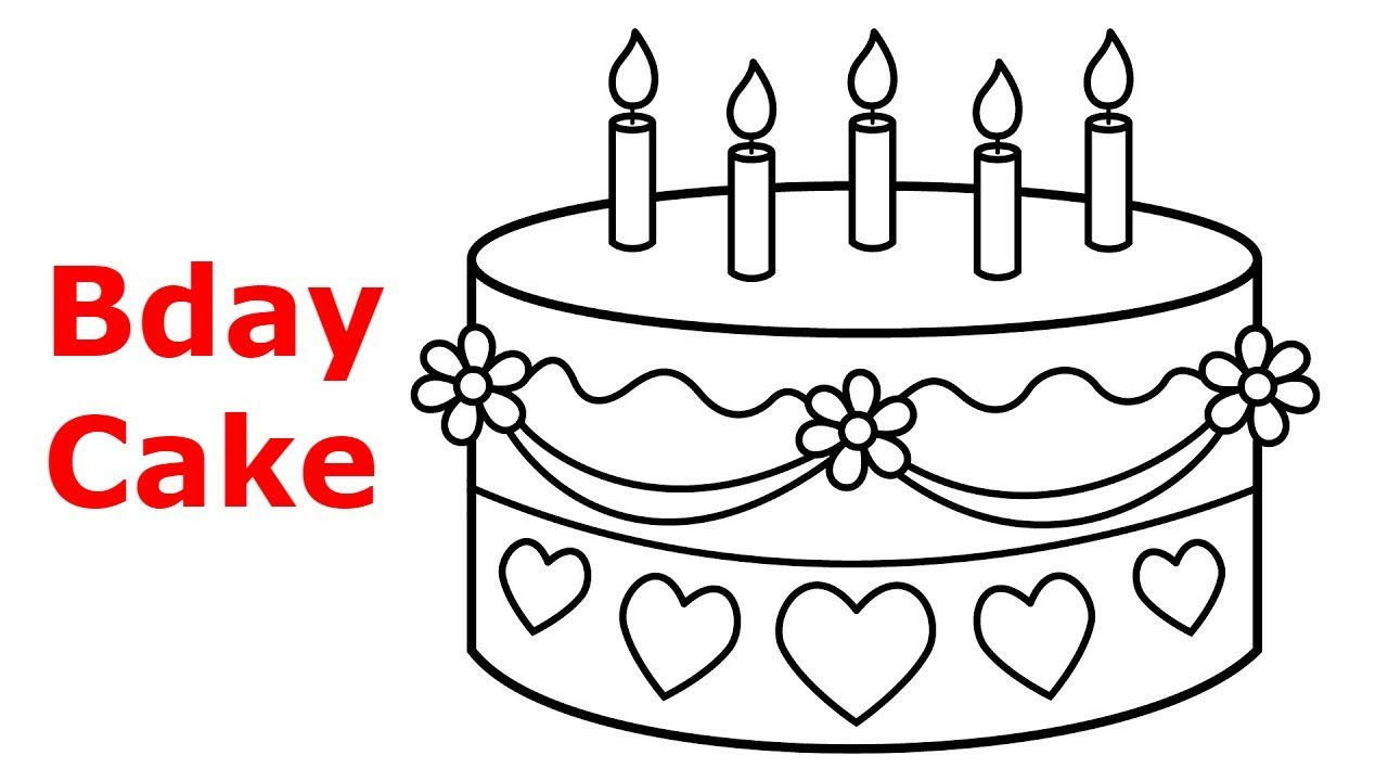 How To Draw Birthday Cake For Kids Cake And Candles Birthday Cake Drawing Youtube