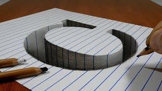 Draw a Letter C Hole on Line Paper   3D Trick Art