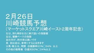 平成30年2月26日川崎競馬予想(マーケットスクエア川崎イースト2周年記念) thumbnail