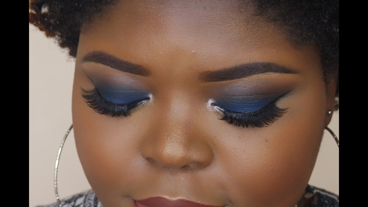 Navy Blue Smokey Eye  Brown Skin - Youtube-6952