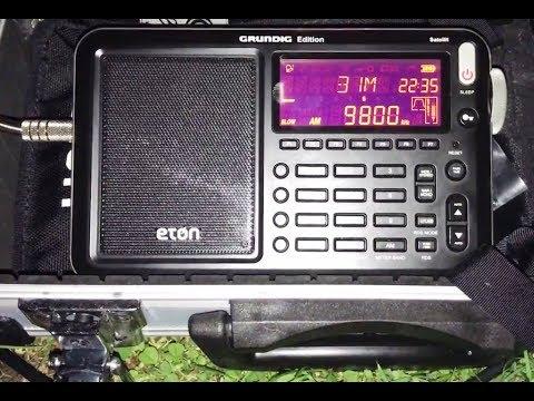 DXing in a large suburban garden: Radio Cairo 9800 kHz, English programming, very nice signal