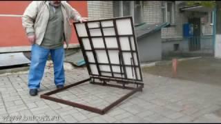 Напольный люк под плитку(Металлический напольный люк с усовершенствованной конструкцией. Люк на газовых амортизаторах облегчающим..., 2016-10-28T17:01:57.000Z)
