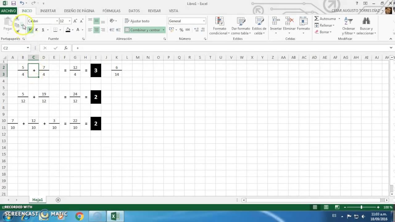 Excel: Fracciones - YouTube
