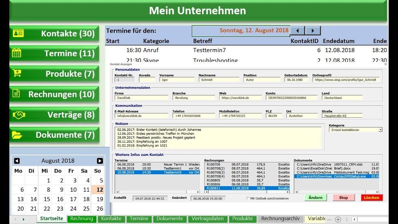 Excel Tool Fur Kleinunternehmen Kundenverwaltung Youtube