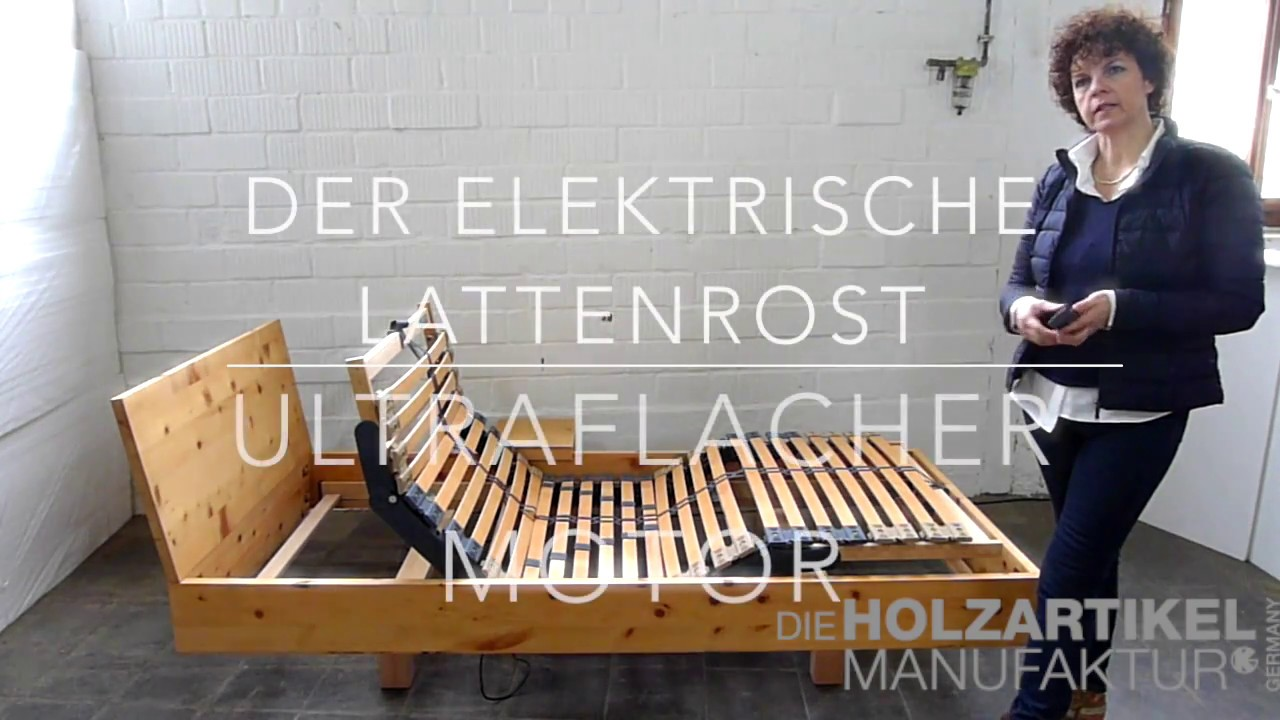 elektrischer lattenrost mit ultraflachem motor youtube. Black Bedroom Furniture Sets. Home Design Ideas