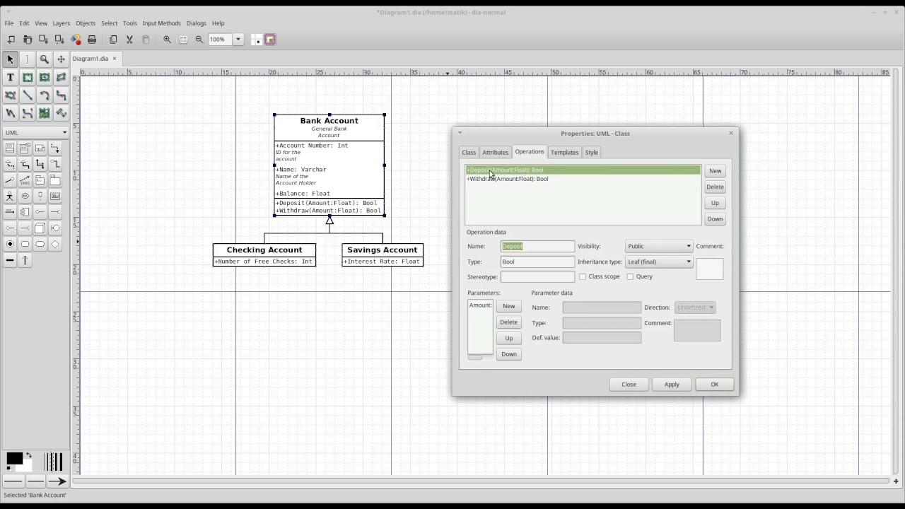 Statik S Geek Notes Uml Diagrams In Dia Part 1 Class Diagrams Youtube