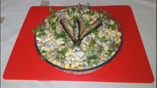 "Салат ""Удачная рыбалка"" с шпротами"