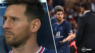 Messi frustrated by PŠG substitution! Mauricio Pochettino takes off Lionel Messi on PSG home debut!