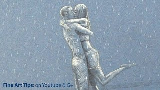 How to Draw People Kissing Under the Rain - Lovers