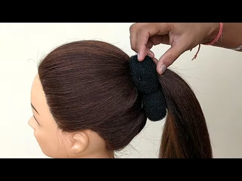 Beautiful !! French Bun Hairstyle With Trick || Hairstyle For Function || French Roll Hair Tutorial thumbnail