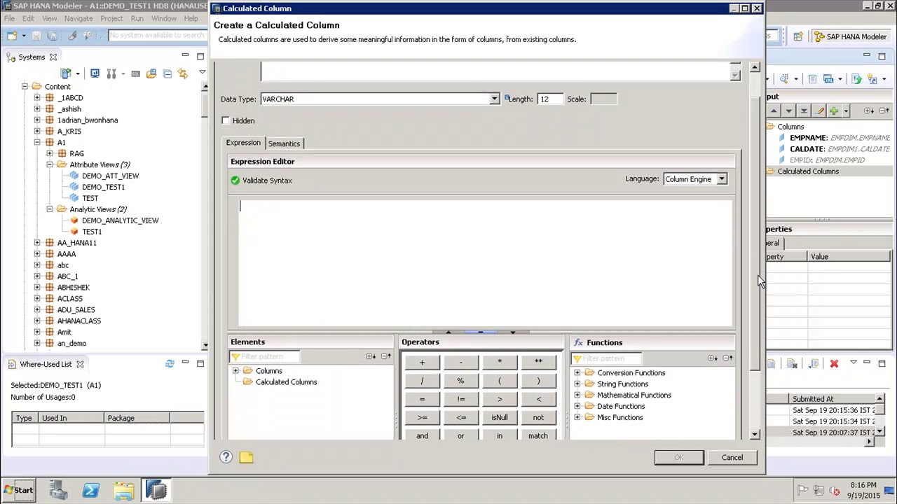 SAP HANA - Calculated Column