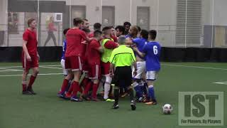 TWO TEAMS BATTLE IT OUT FOR $2000 PRIZE!! BENCH CLEARING SCUFFLE, BLUE CARDS, FIGHT FOR EVERY BALL!!