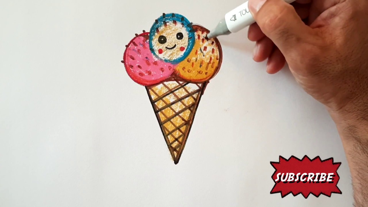 How To Draw An Ice Cream Cone Dondurma Kulahi Nasil Cizilir