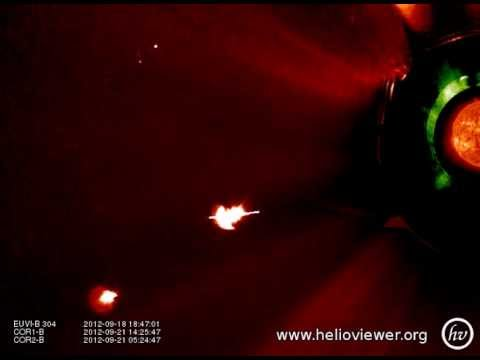 COR1-B , COR2-B , EUVI-B 304 (2012-09-17 14:24:45 - 2012-09-21 23:24:47 UTC)