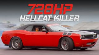 Twin Turbo Gen III Hemi SRT8 Challenger Smokes Hellcat at the track - Detroit Muscle S3, E18