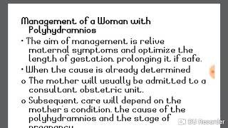 MANAGEMENT OF PREGNANT WOMEN WITH POLYHYDRAMNIOS.