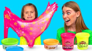 Play-Doh Slime Play || Satisfying Colorful Glitter and Foam Tricks