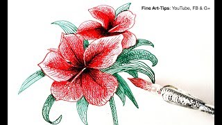 How to Use a Glass Dip Pen & How to Draw a Hibiscus