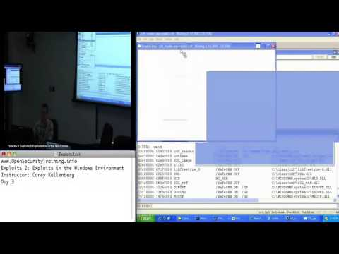 OpenSecurityTraining: Exploits 2: Exploitation in the  Windows Environment (day 3, part 3)