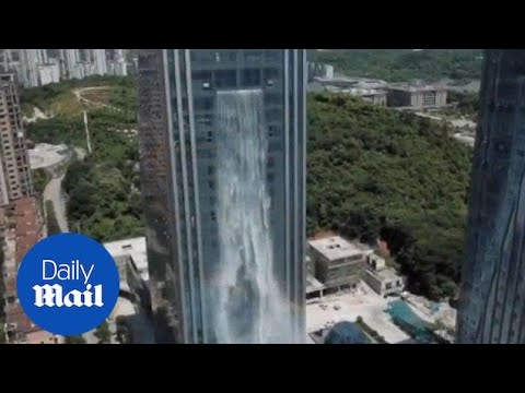 This is the amazing waterfall building in Guiyang City, Chin