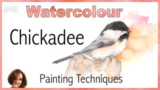 How to paint a Chickadee in watercolor // Beginner Watercolor Painting Techniques