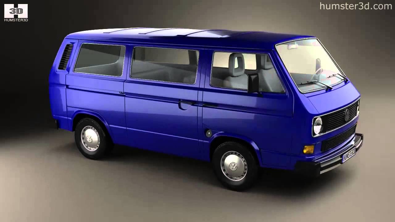 volkswagen transporter t3 passenger van 1990 by 3d model store youtube. Black Bedroom Furniture Sets. Home Design Ideas