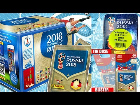Panini WORLD CUP 2018 STICKER COLLECTION FULL BOOSTER BOX 100 Packs + TIN + BLISTER