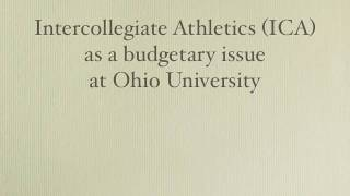 Cost of Intercollegiate Athletics at Ohio U, part 1