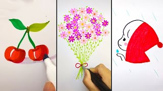 SIMPLE DRAWING TRICKS. HΟW TO DRAW EASY WITH MARKERS. DRAWINGS IDEAS FOR BEGINNERS