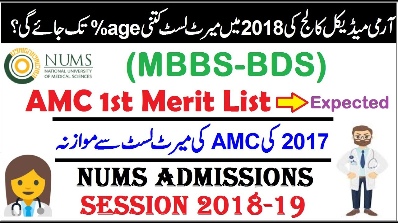 AMC Expected Merit List in 2018 !! NUMS %age Required ?