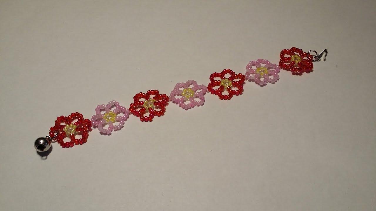 95a318d5d اعمال يدوية : اسوارة جميلة (زهور) من الخرز - YouTube