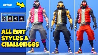 'NEW' GRIND SKIN CHALLENGES - EDIT STYLES SHOWCASED! Fortnite BR (Hang Time Bundle Showcase)