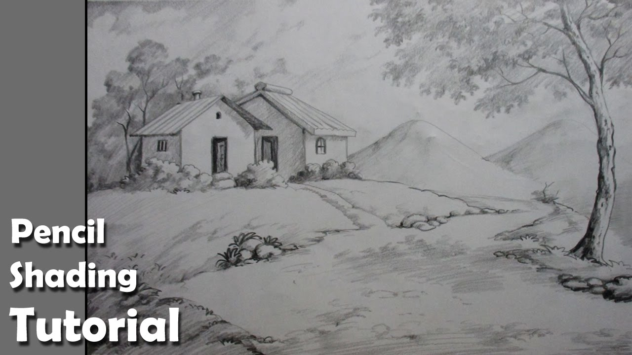 Line Drawing With Shading : How to draw a village landscape with pencil epi youtube