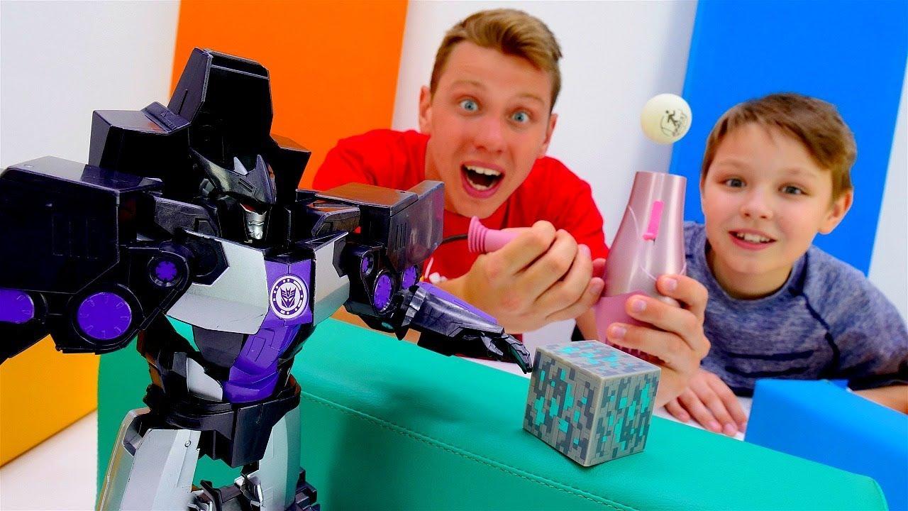 Роботы Трансформеры - Кому достанется Энергон? - Играем в теннис с Десептиконами.