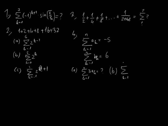 A véges összegek határértéke és a szumma jel - Feladatok