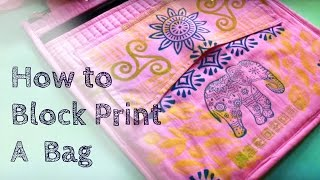 How to Block Print a Bag | Jamie Malden | Woodblock Printing(You can buy this elegant elephant set of wooden printing blocks at http://colouricious.com/block-printing-shop/textile-art-techniques-workshops/ You can buy the ..., 2016-02-24T18:43:13.000Z)