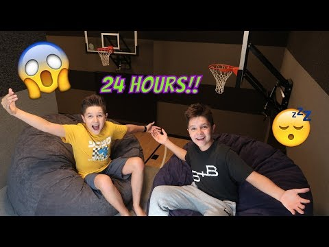 24 hours in our BASKETBALL COURT!!! | Brock and Boston