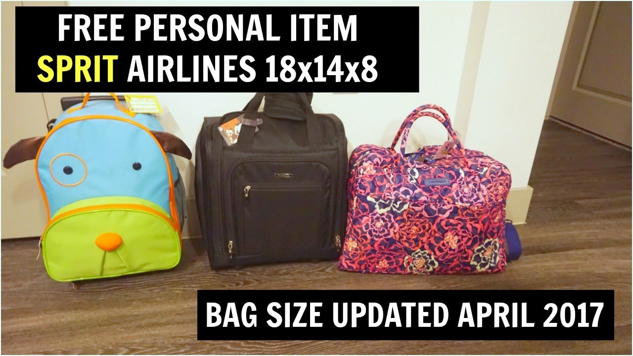 free personal bag spirit airlines april 2017 18x14x8 youtube