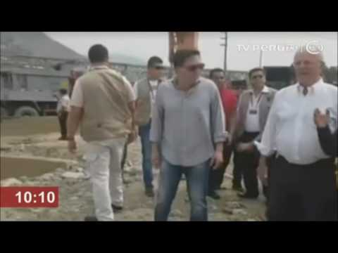 Presidente Pedro Pablo Kuczynski inspecciona daños por crecida del río Huaycoloro