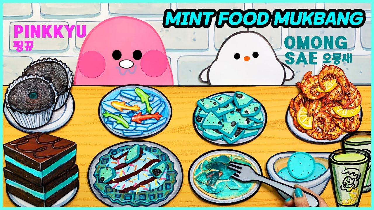 슬라임 핑뀨와 오몽새의 애슐리 민트초코 먹방 스톱모션! STOPMOTION MINT FOOD MUKBANG! SLIME PINKKYU & OMONGSAE