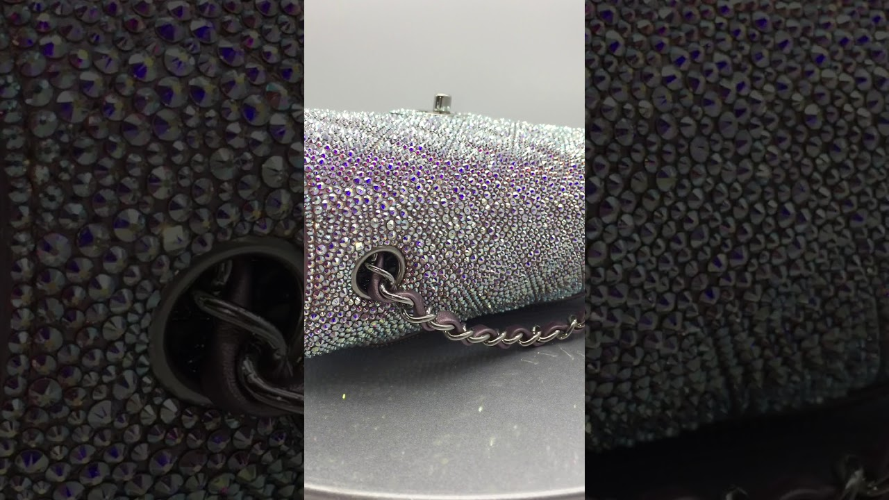 092462cd0df6 Custom Swarovski Crystal AB Chanel Mini Flap Bag Strass - YouTube