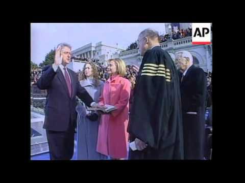 USA: WASHINGTON: PRESIDENT CLINTON TAKES OATH OF OFFICE
